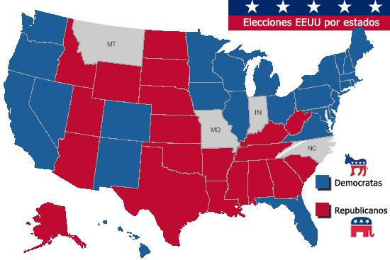 USA Mapa electoral 2008
