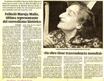 Falleció Maruja Mallo (Heraldo de Aragón, 8-02-95)